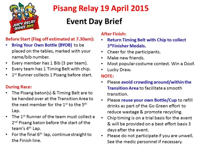 Event Day Brief - Pisang Relay 2015